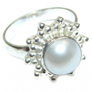 Pearl .925 Sterling Silver handmade ring size 8