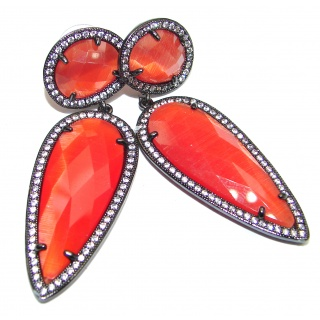 Large Very Unique Carnelian black rhodium over .925 Sterling Silver earrings
