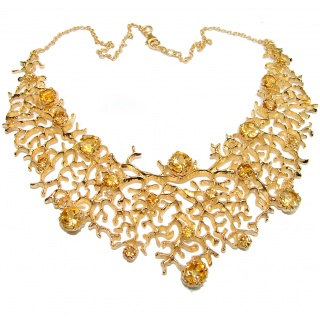 Large Golden Reef authentic Citrine 18K Gold over .925 Sterling Silver handcrafted Statement necklace