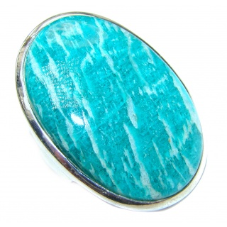 Large Ocean Breeze Amazonite .925 Sterling Silver ring s. 9