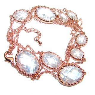 36 inches genuine faceted White Topaz Rose Gold over .925 Sterling Silver handmade station Necklace