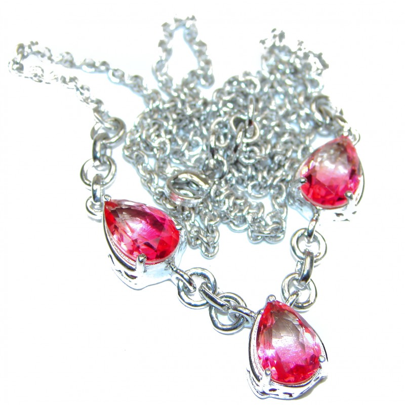 Pear cut Pink Tourmaline color Topaz .925 Sterling Silver handcrafted necklace