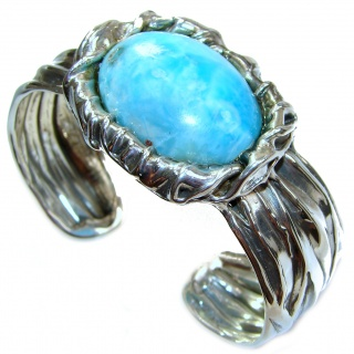 Beauty of Nature Blue Larimar .925 Sterling Silver handcrafted Bracelet / Cuff