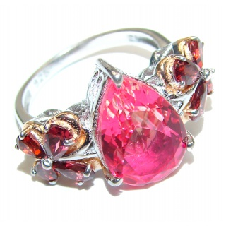 Pear cut Pink Topaz .925 Sterling Silver handcrafted Ring s. 8 1/4