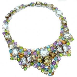 Vintage Style authentic Multi-Gemstone .925 Sterling Silver handcrafted Necklace