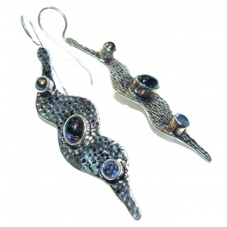 Handcrafted In Mexico Dichroic Glass Silver earrings