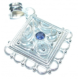 Rich Design Natural Iolite .925 Sterling Silver handmade Pendant