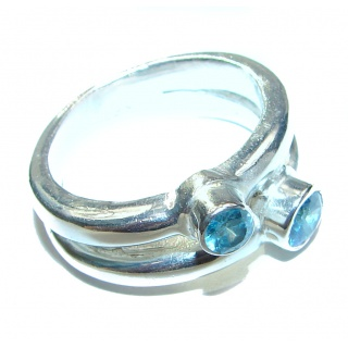 Swiss Blue Topaz .925 Sterling Silver handmade Cocktail Ring size 8 1/4