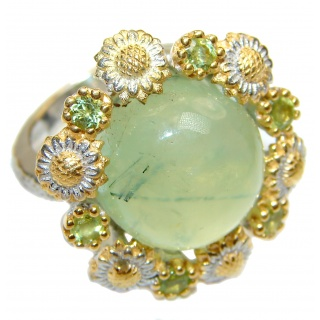 Natural Moss Prehnite 14K Gold over .925 Sterling Silver handmade ring s. 6 3/4