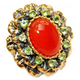 Large Natural Carnelian 18K Gold over .925 Sterling Silver handcrafted ring size 78