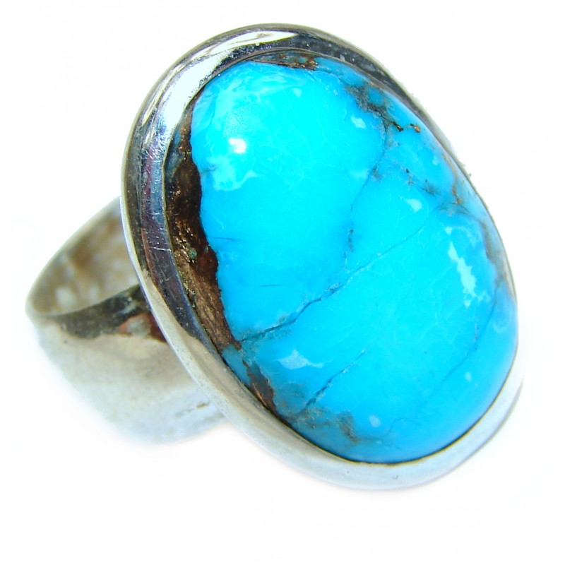 Turquoise .925 Sterling Silver handcrafted ring; s. 6 1/4