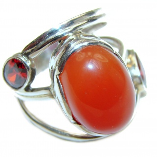 Genuine Carnelian .925 Sterling Silver handmade Ring Size 5 1/2