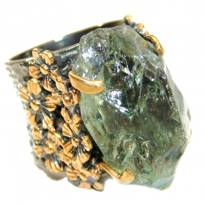 Huge Natural Rough Green Amethyst 14K Gold over .925 Sterling Silver handmade Statement Ring s. 6