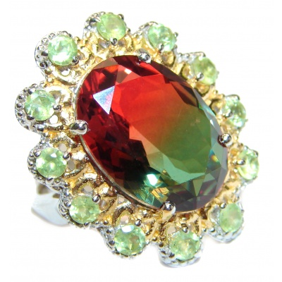 Watermelon Tourmaline 18K Gold over .925 Sterling Silver handcrafted Ring s. 6