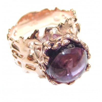 Spectacular genuine 19ctw Amethyst .925 Sterling Silver handcrafted Ring size 8