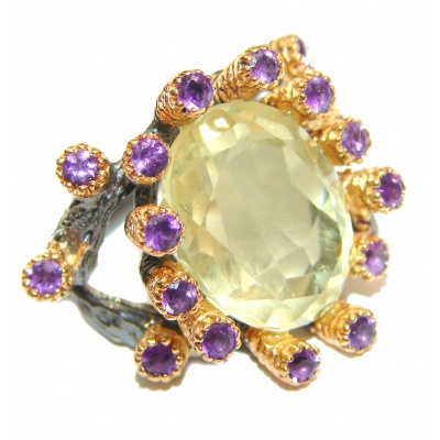 Jumbo Vintage Style Citrine 18K Gold over .925 Sterling Silver handmade Cocktail Ring s. 7