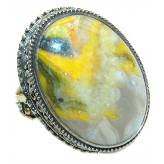 Vivid Beauty Yellow Bumble Bee oxidized .925 Jasper Sterling Silver ring s. 7 adjustable