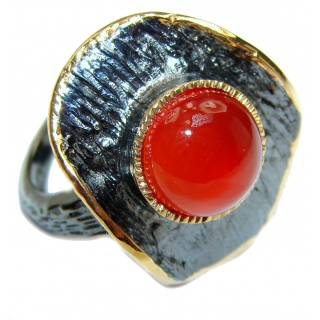 Sublime Genuine Carnelian 14K Gold over .925 Sterling Silver handmade Ring Size 8