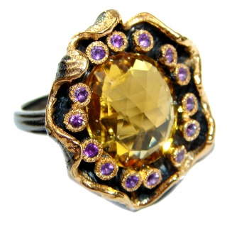 Vintage Style Natural Citrine 14K Gold over .925 Sterling Silver handcrafted Ring s. 8