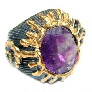 Vintage Style Natural Amethyst 14K Gold over .925 Sterling Silver handcrafted Ring s. 6