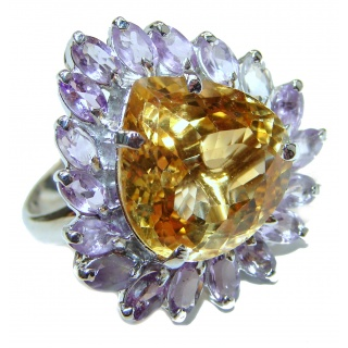 Vintage Style Natural Citrine .925 Sterling Silver handcrafted Ring s. 8 1/4