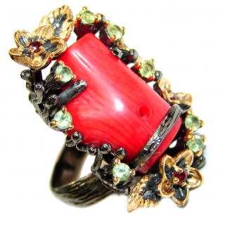 Natural Fossilized Coral 18K Gold over .925 Sterling Silver handmade ring s. 8