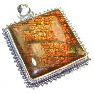 Large One of the kind genuine Ammolite .925 Sterling Silver handcrafted Pendant