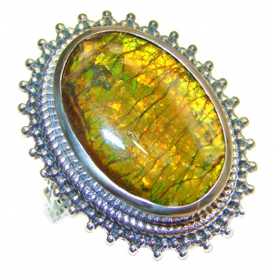 HUGE Genuine Canadian Ammolite 18K Gold over .925 Sterling Silver handmade ring size 6 1/4