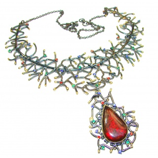 One of the kind Natural Canadian Ammolite Gold Rhodium over .925 Sterling Silver handmade necklace