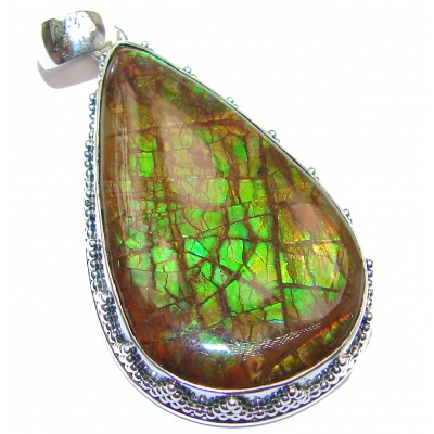 Large One of the kind genuine Canadian Ammolite .925 Sterling Silver handcrafted Pendant
