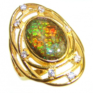 HUGE Genuine Canadian Ammolite 18K Gold over .925 Sterling Silver handmade ring size 7 1/4