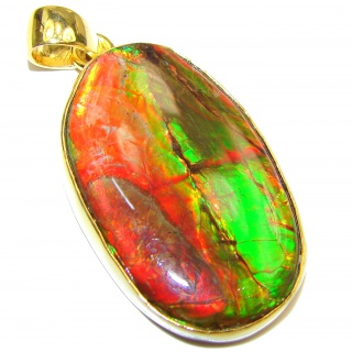 Large One of the kind genuine Canadian Ammolite 18K Gold over .925 Sterling Silver handcrafted Pendant