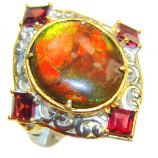 Genuine Canadian Ammolite 18K Gold over .925 Sterling Silver handmade ring size 6 1/4
