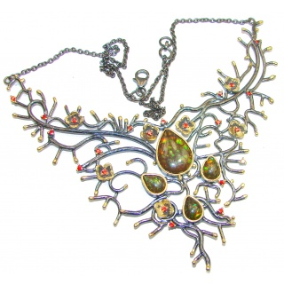 Huge Natural Canadian Ammolite Chrome Diopside 18K Gold Rhodium over .925 Sterling Silver handmade necklace