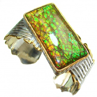 Beautiful New Design Red Ammolite .925 Sterling Silver handmade Bracelet / Cuff