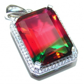 Deluxe emerald cut Pink Tourmaline .925 Sterling Silver handmade Pendant