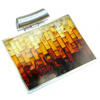 Handcrafted Mosaic Polish Amber .925 Sterling Silver Pendant