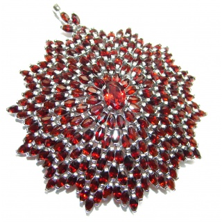 Large Protective Power genuine Garnet .925 Sterling Silver handmade Pendant - Pin