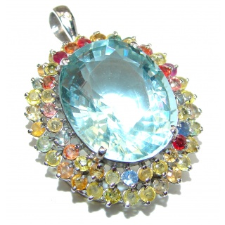 Spectacular Swiss Blue Topaz Tourmaline .925 Sterling Silver handcrafted pendant