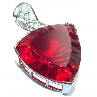 Large 62 ctw Deep Passion Helenite .925 Sterling Silver Pendant