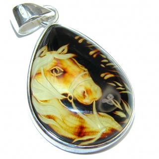 Wild Horse Authentic carved Baltic Amber .925 Sterling Silver handmade Pendant