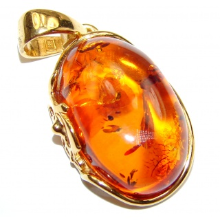 Natural Baltic Amber 14K Gold over .925 Sterling Silver handmade Pendant