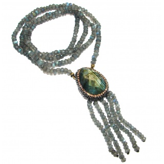 Great Masterpiece genuine Labradorite Gold over .925 Sterling Silver handmade necklace