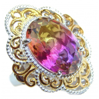HUGE Oval cut Ametrine 18K Gold over .925 Sterling Silver handcrafted Ring s. 9 1/2