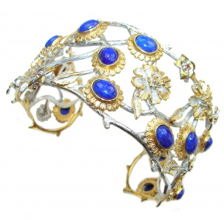 Blue Garden Lapis Lazuli 14K Gold over .925 Sterling Silver handcrafted Bracelet / Cuff