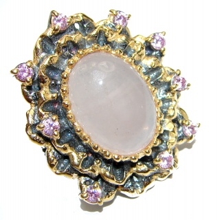 Authentic Rose Quartz 14K Gold over .925 Sterling Silver handcrafted ring s. 6 1/4