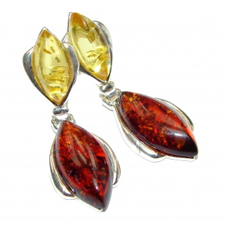 Big Authentic Baltic Amber .925 Sterling Silver handmade Earrings