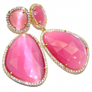 Large Very Unique Pink Cats Eye 14K Gold over .925 Sterling Silver earrings