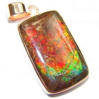 One of the kind genuine Canadian Ammolite rose gold over .925 Sterling Silver handcrafted Pendant