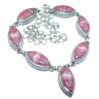 Pure In Heart AAA Rhodochrosite .925 Sterling Silver necklace